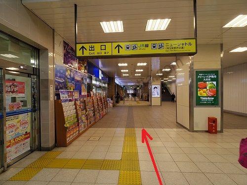 ルミネ1の店内1階の食品フロアを通り抜けます