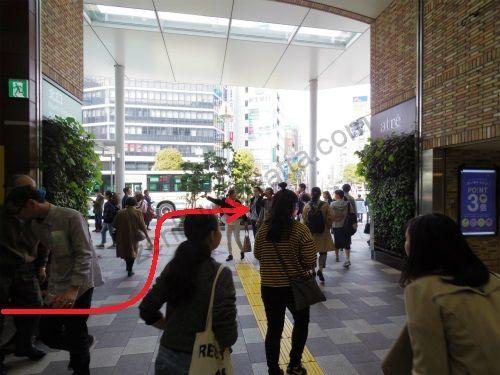 JR吉祥寺駅北口の地上に下りたらすぐ左に曲がって歩道を右に曲がります